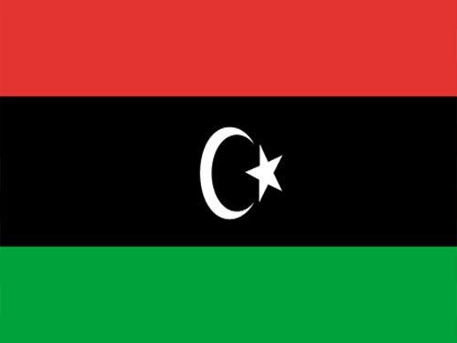 4in x 6in Libya Flag with Staff and Spear