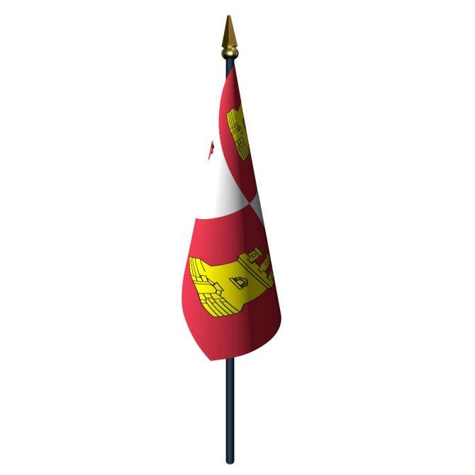 4in x 6in Lions and Castles Flag with Staff and Spear