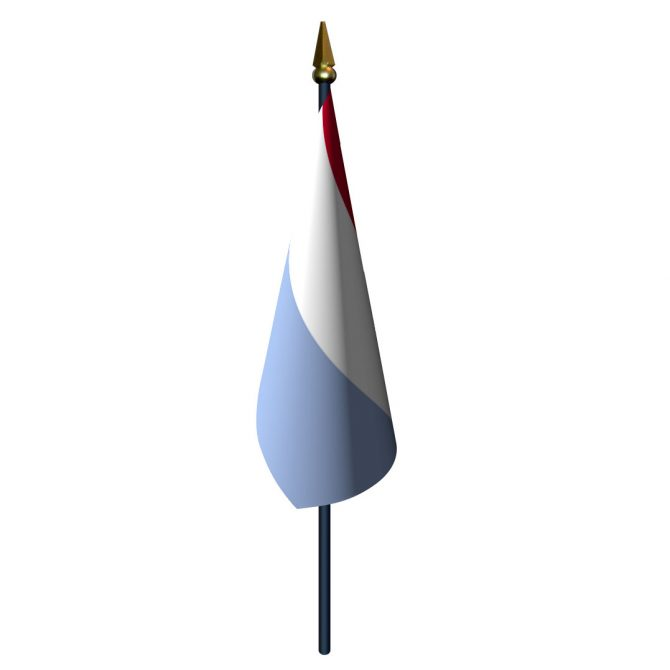 4in x 6in Luxembourg Flag with Staff and Spear
