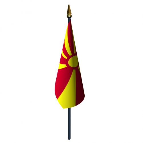 4in x 6in Macedonia Flag with Staff and Spear