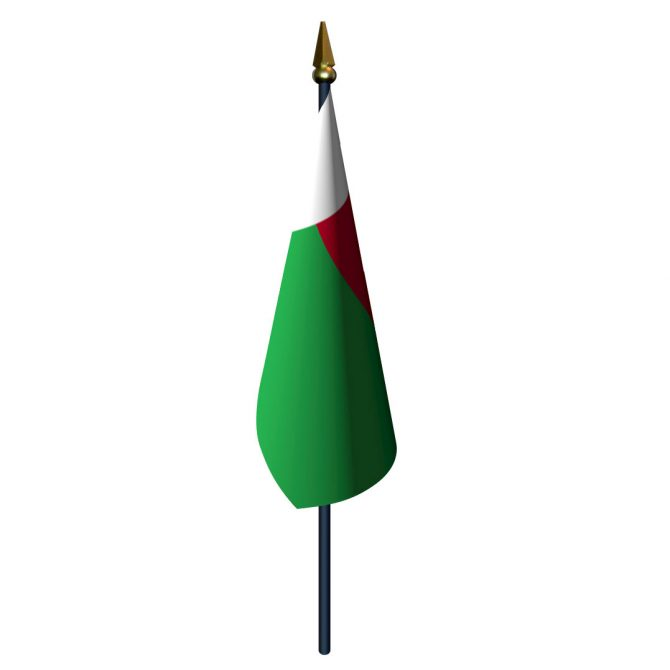 4in x 6in Madagascar Flag with Staff and Spear