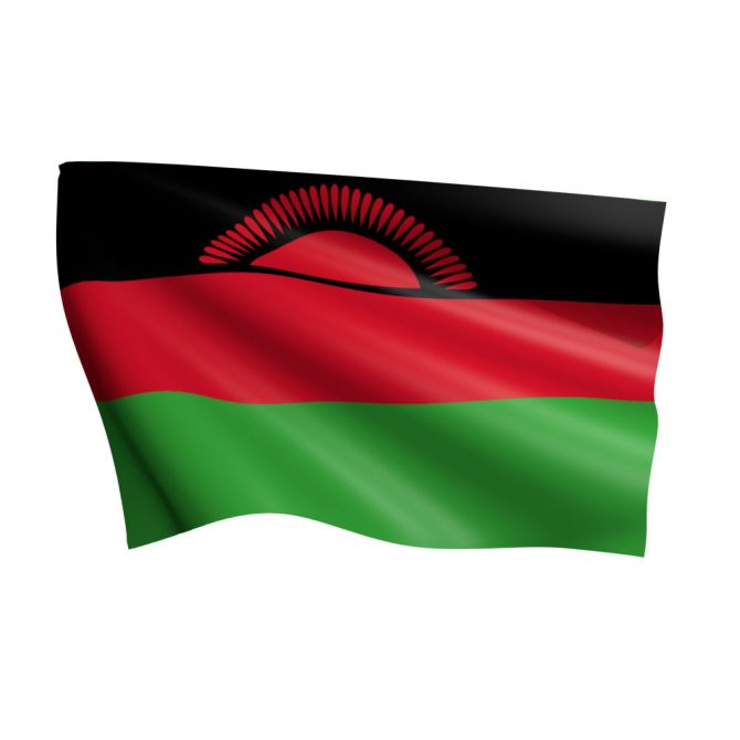 4in x 6in Malawi Flag with Staff and Spear
