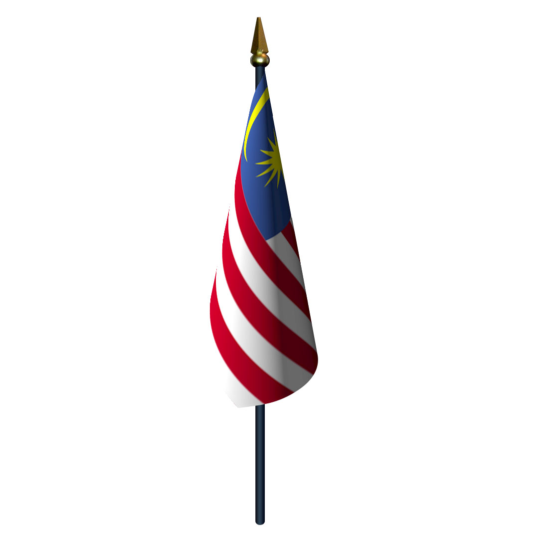 4in x 6in Malaysia Flag with Staff and Spear