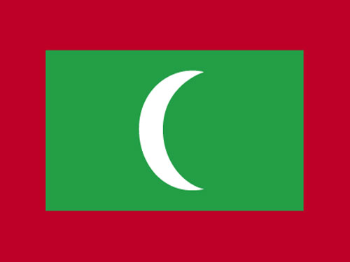 4in x 6in Maldives Flag with Staff and Spear