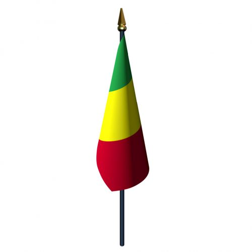 4in x 6in Mali Flag with Staff and Spear