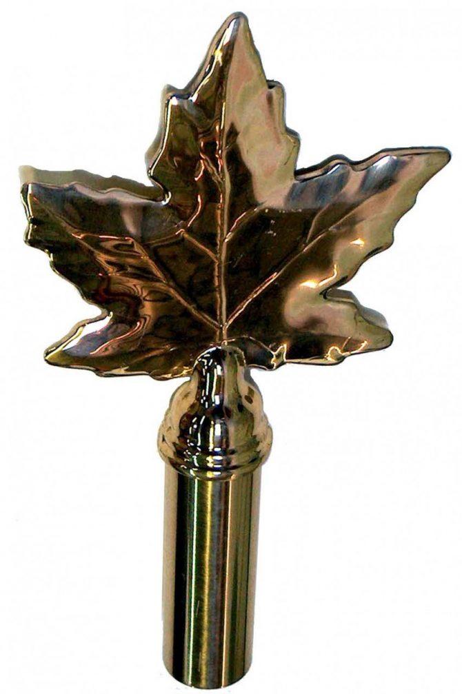 Brass Maple Leaf Finial