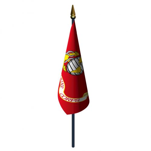 Marine Corps Flag with Staff and Spear