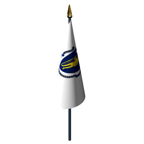 Massachusetts Flag with Staff and Spear