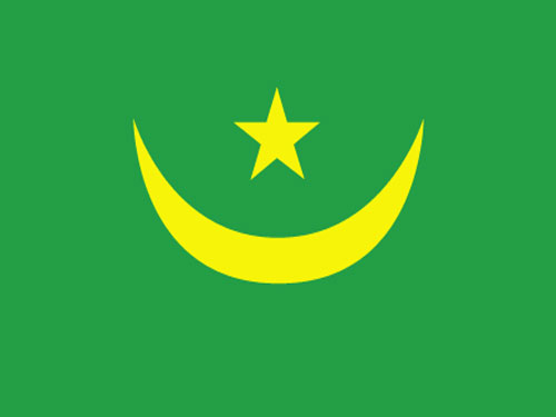 4in x 6in Mauritania Flag with Staff and Spear