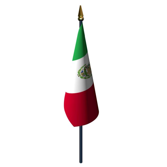 Mexico Flag with Staff and Spear