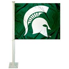 michigan state university car window flag