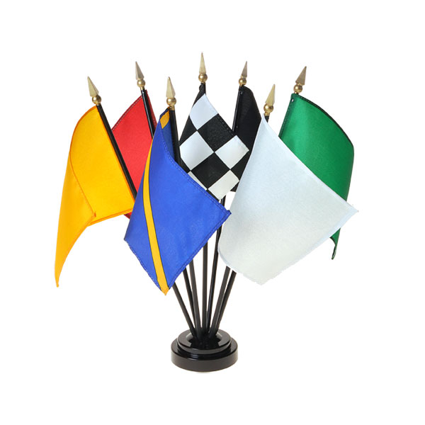 4in x 5in Handheld Racing Flags Set with Staff and Spear