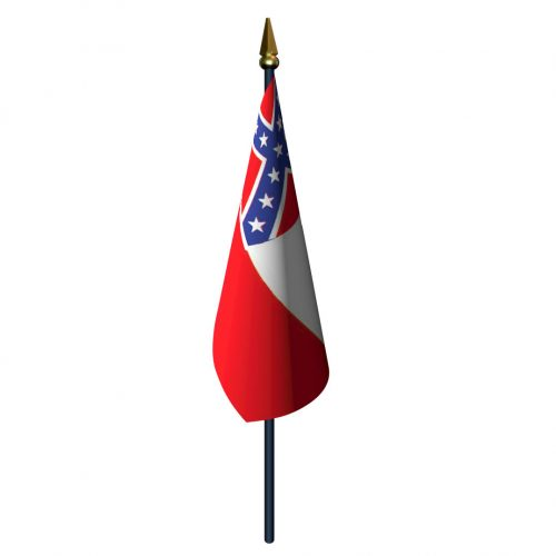 Mississippi Flag with Staff and Spear