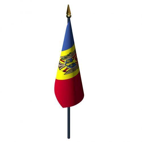 4in x 6in Moldova Flag with Staff and Spear