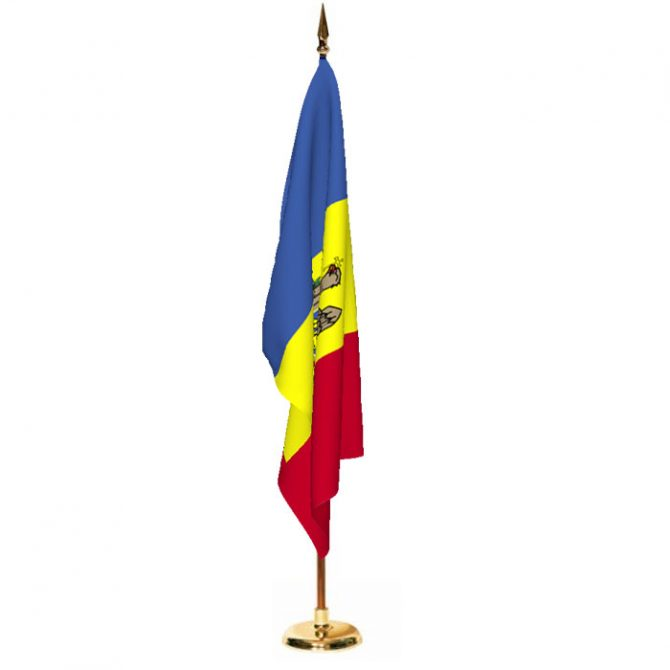 Indoor Moldova Ceremonial Flag Set