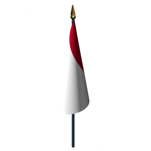 Monaco Flag with Staff and Spear