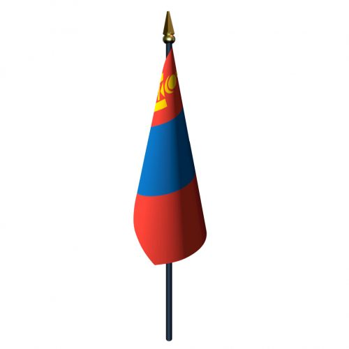4in x 6in Mongolia Flag with Staff and Spear