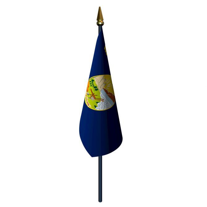 Montana Flag with Staff and Spear