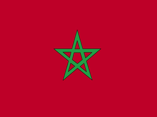 4in x 6in Morocco Flag with Staff and Spear