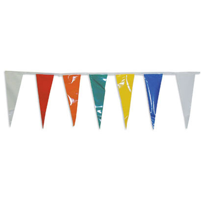 100ft of Plastic Stringed Thin Multi-Colored Pennants