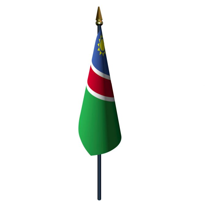 4in x 6in Namibia Flag with Staff and Spear