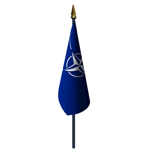 4in x 6in Nato Flag with Staff and Spear