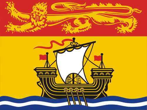 4in x 6in New Brunswick Flag with Staff and Spear