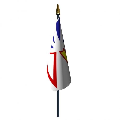 4in x 6in Newfoundland Flag with Staff and Spear