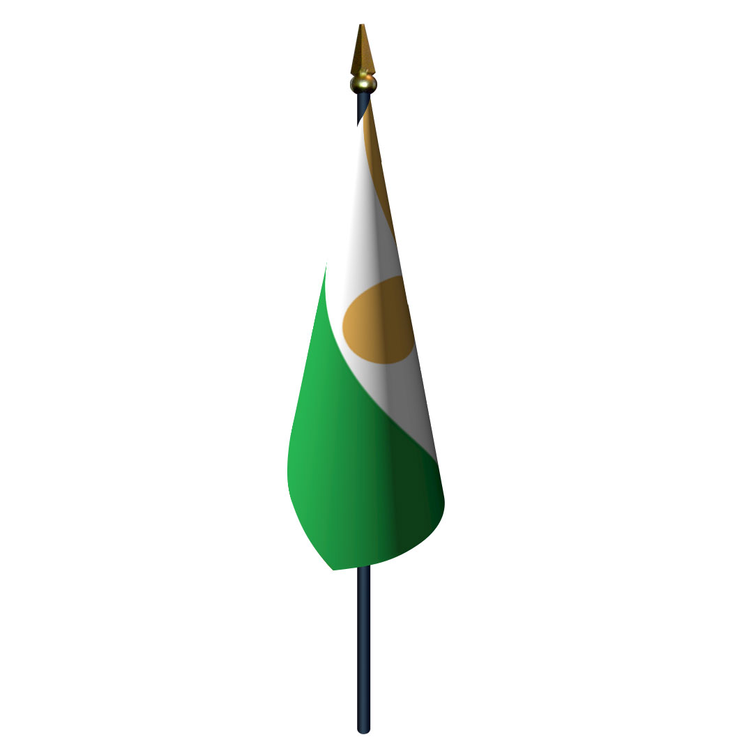 4in x 6in Niger Flag with Staff and Spear