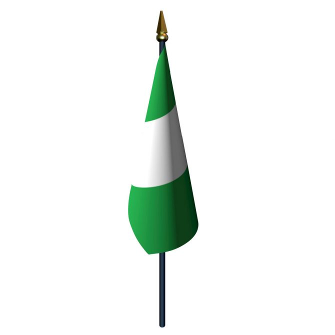 4in x 6in Nigeria Flag with Staff and Spear