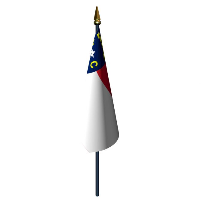 North Carolina Flag with Staff and Spear