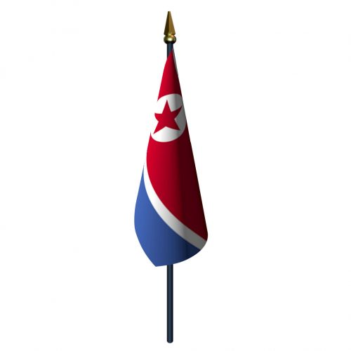 4in x 6in North Korea Flag with Staff and Spear