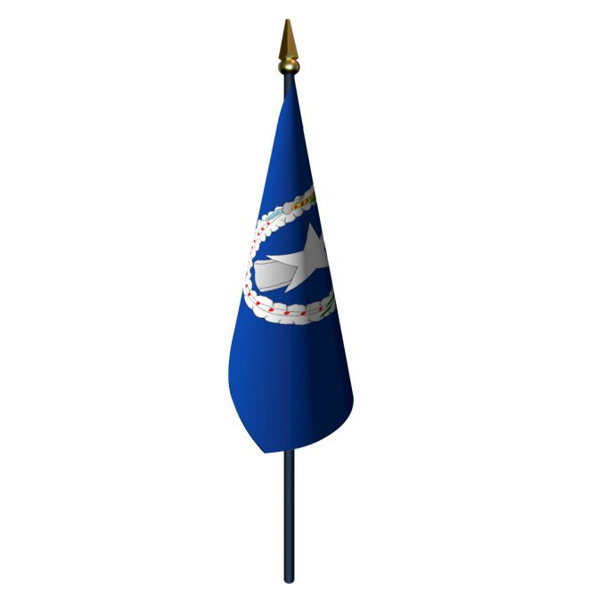 Northern Mariana Islands Flag with Staff and Spear