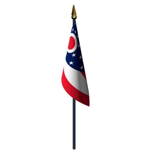 Ohio Flag with Staff and Spear