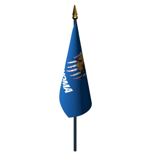 Oklahoma Flag with Staff and Spear