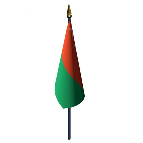 4in x 6in Oman Flag with Staff and Spear