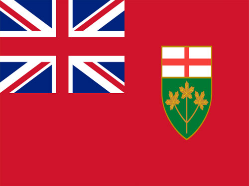 4in x 6in Ontario Flag with Staff and Spear