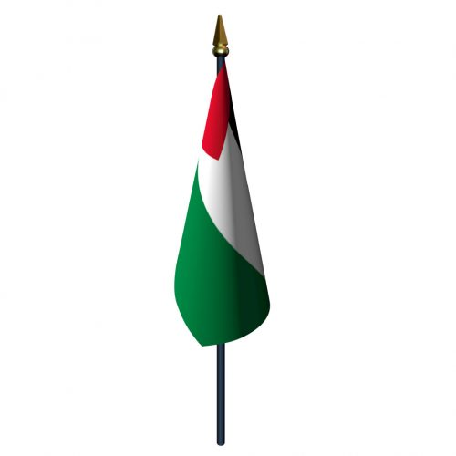 4in x 6in Palestine Flag with Staff and Spear