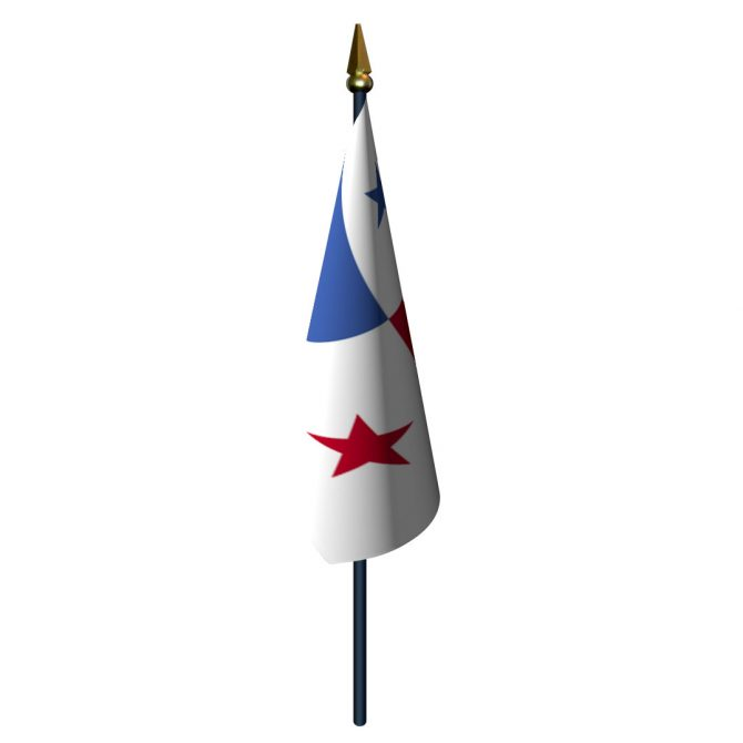 Panama Flag with Staff and Spear