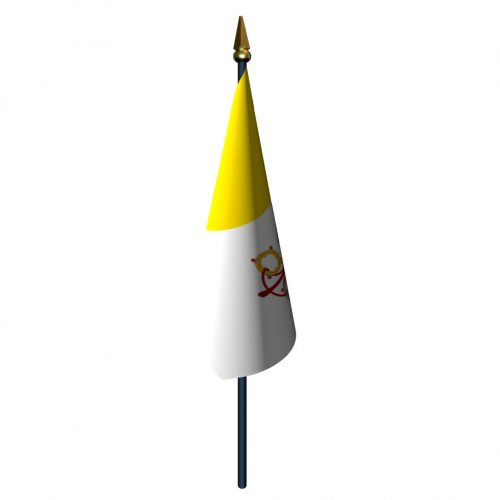 4in x 6in Papal Flag with Staff and Spear
