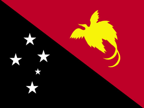 4in x 6in Papua New Guinea Flag with Staff and Spear
