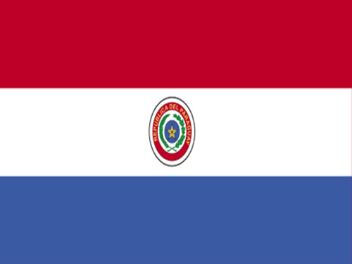 Paraguay Flag with Staff and Spear