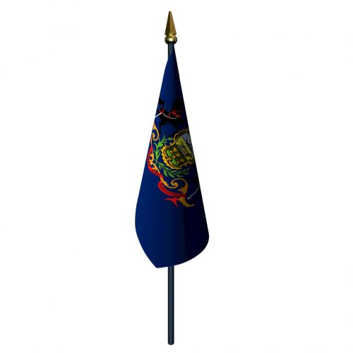 Pennsylvania Flag with Staff and Spear