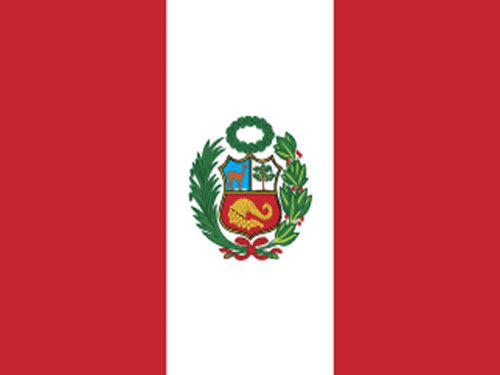 Peru with Seal Flag with Staff and Spear