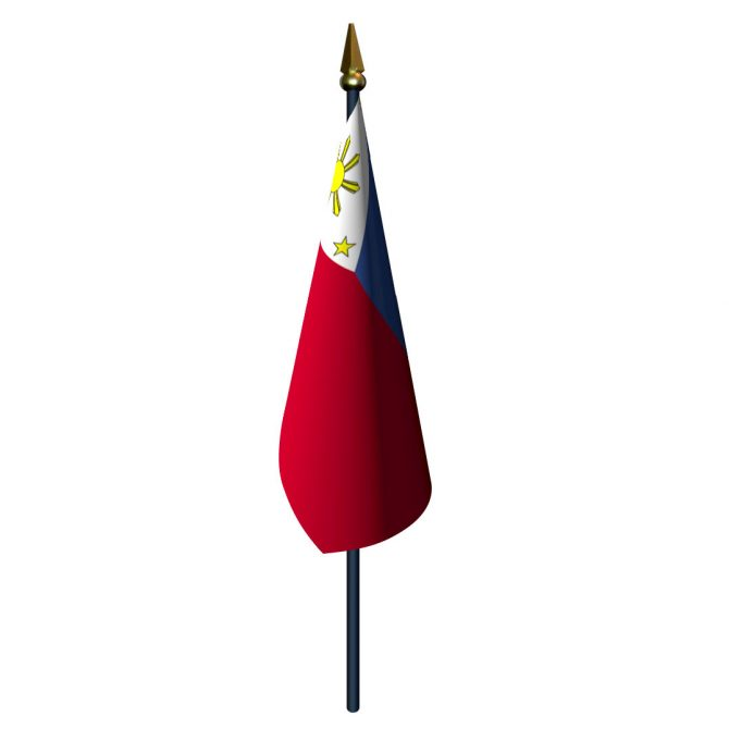 Philippines Flag with Staff and Spear