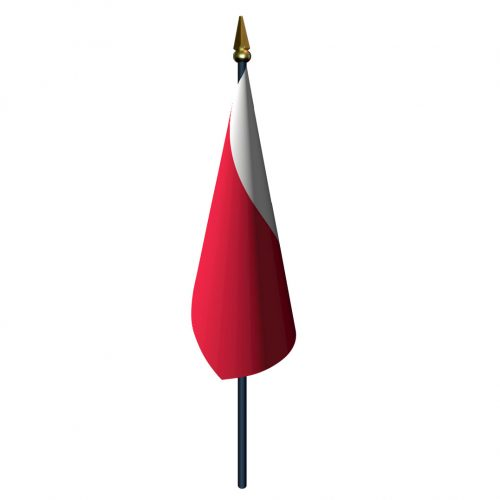 Poland Flag with Staff and Spear