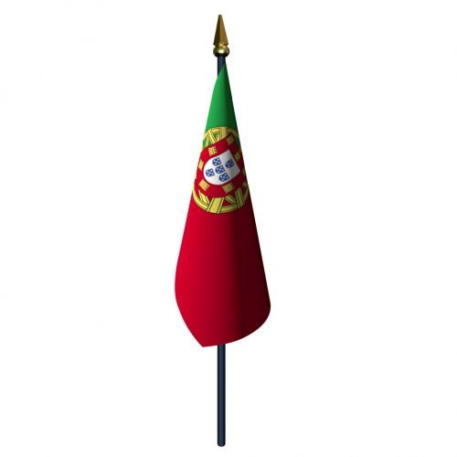 Portugal Flag with Staff and Spear
