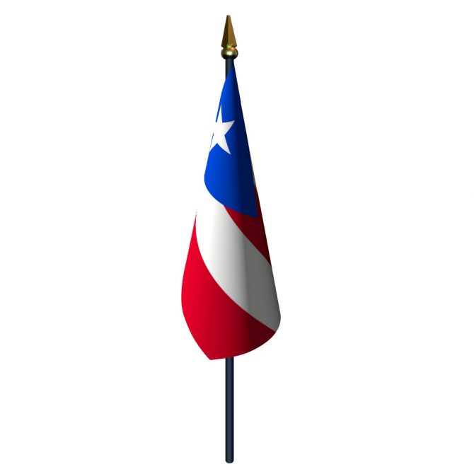 Puerto Rico Flag with Staff and Spear