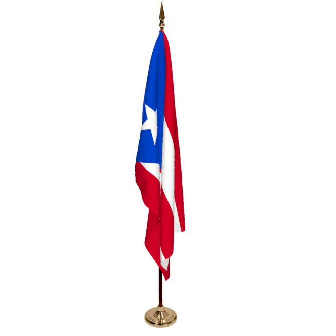 Indoor Puerto Rico Ceremonial Flag Set