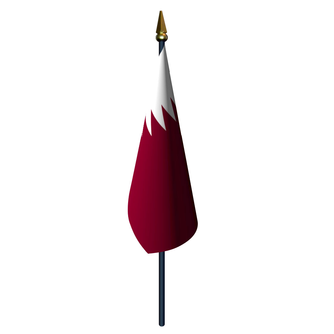 4in x 6in Qatar Flag with Staff and Spear